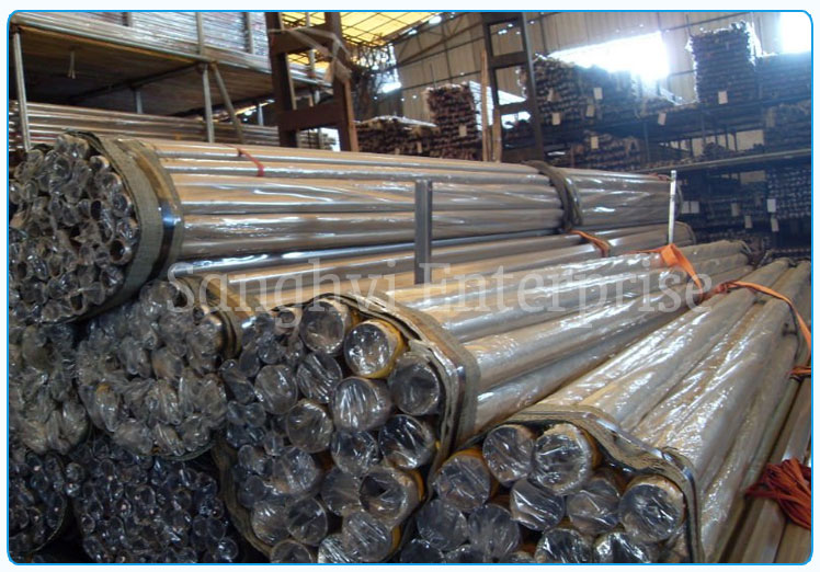 Original Photograph Of 202 Stainless Steel Welded Pipe At Our Warehouse Mumbai, India